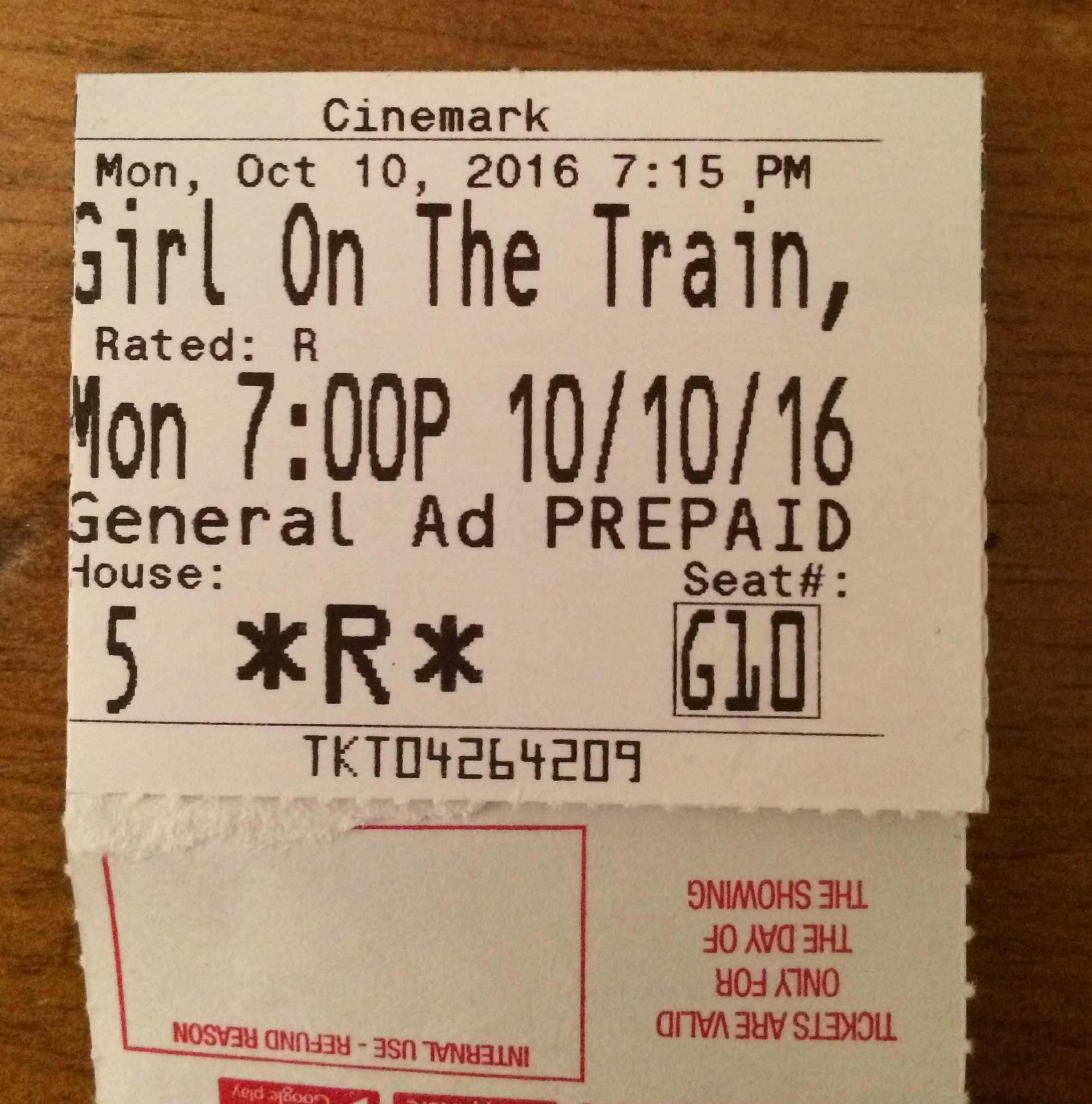 "We enjoyed getting out of the house last night and going to ""The Girl on the Train."""