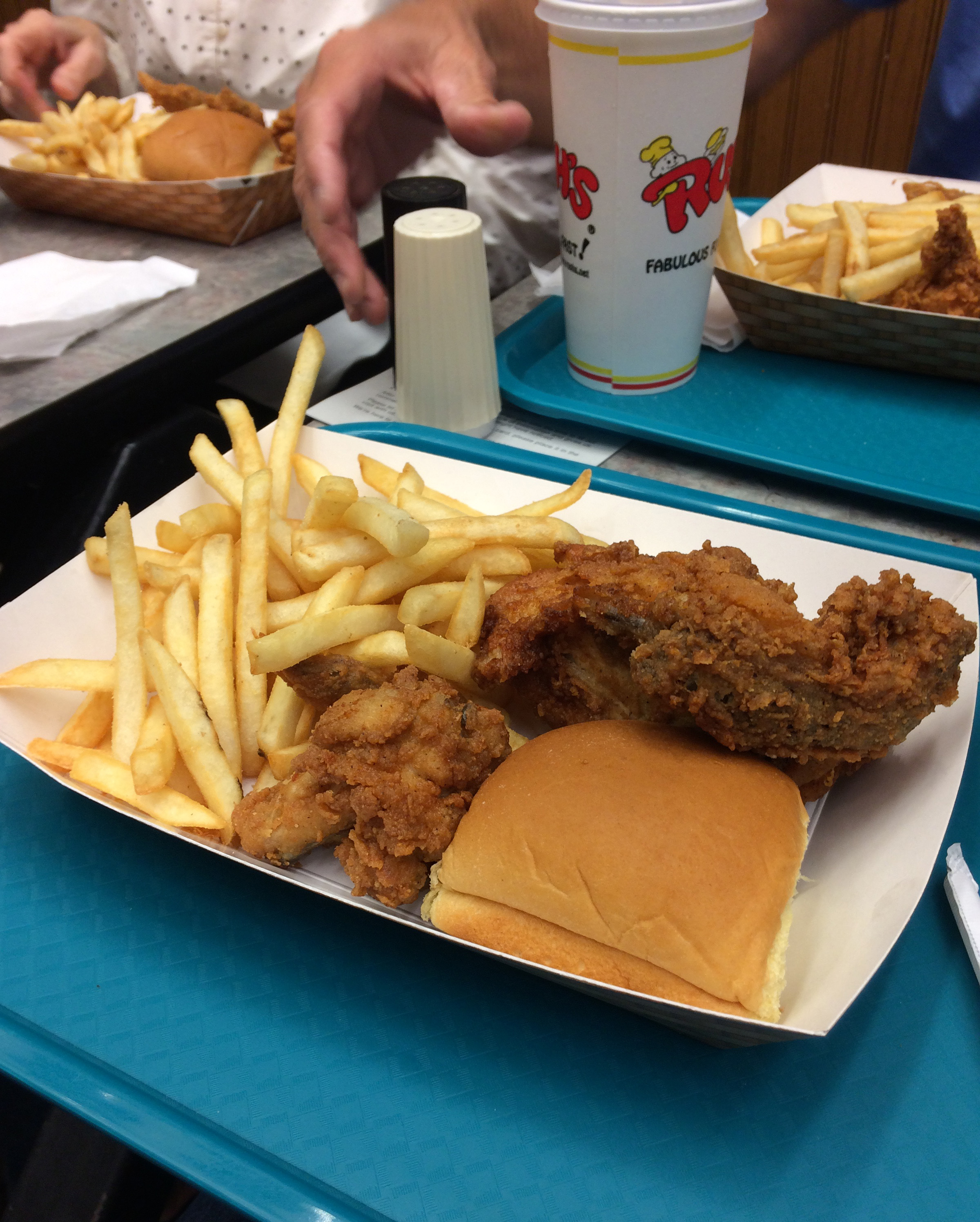 This is my meal at Rush's Chicken on Friday night. Very good food!