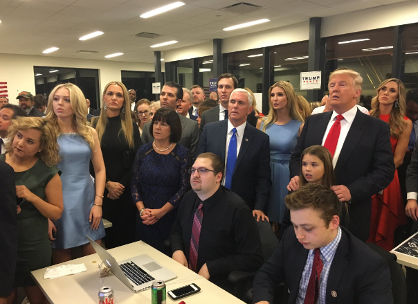 I love behind the scenes photos. Seeing this glimpse of the Trump camp watching the election returns was pretty cool.