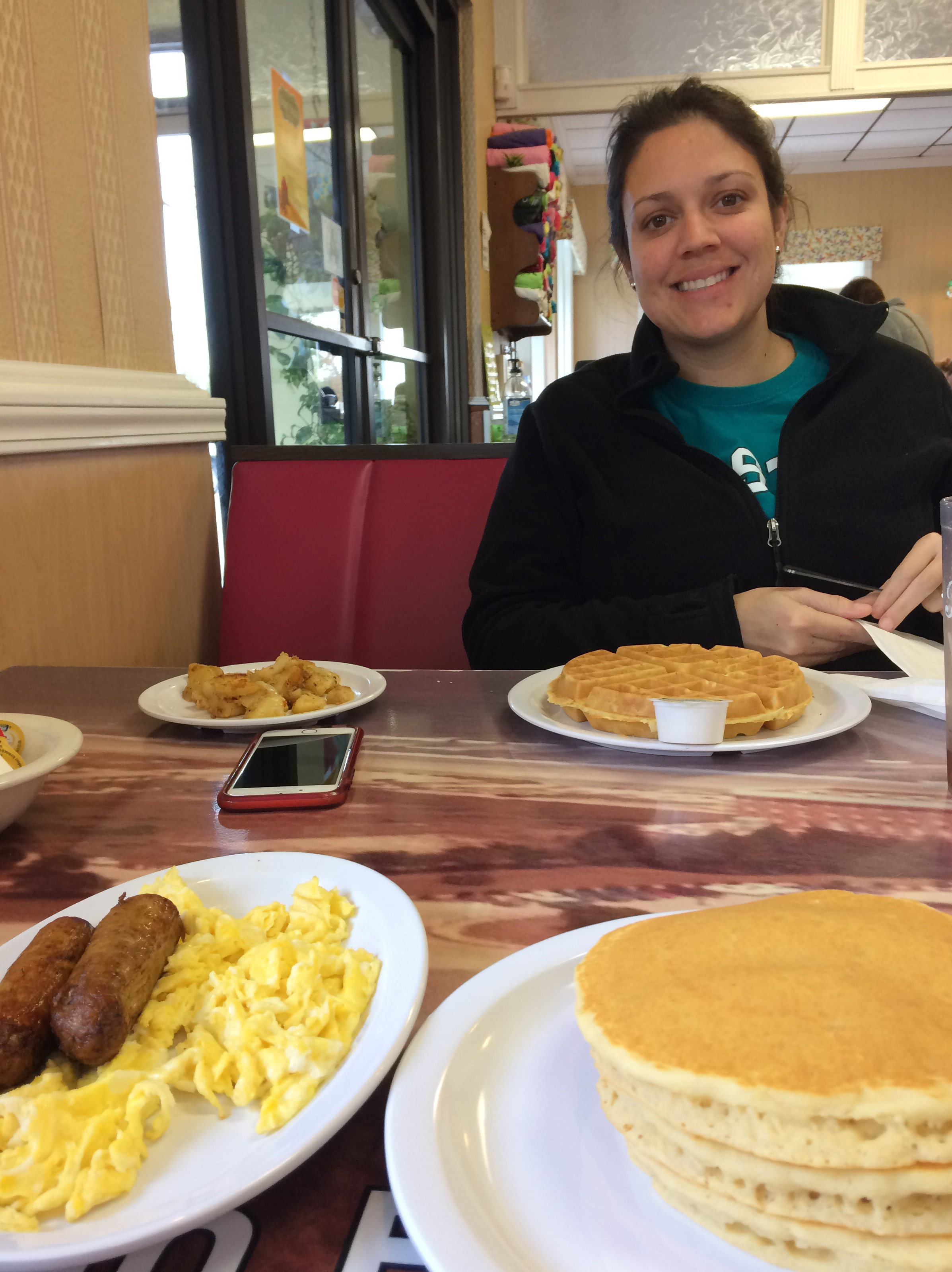I took this photo of Sidney with our food on the table at the Southern House of Pancakes in Myrtle Beach.