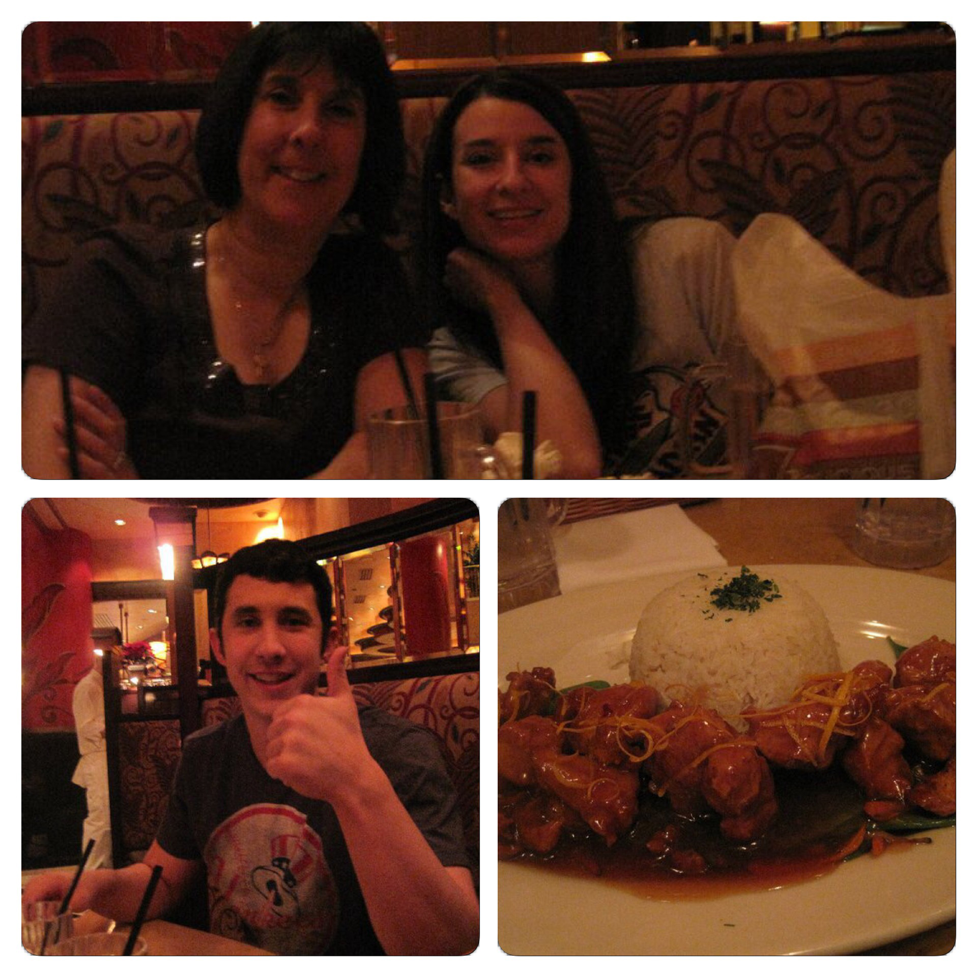 The first time I ate at a Cheesecake Factory was with my family in Las Vegas in December of 2010. The top photo is my mom and sister. The bottom left is my brother. The photo in the bottom right is of the orange chicken I ate as my first ever Cheesecake Factory meal.