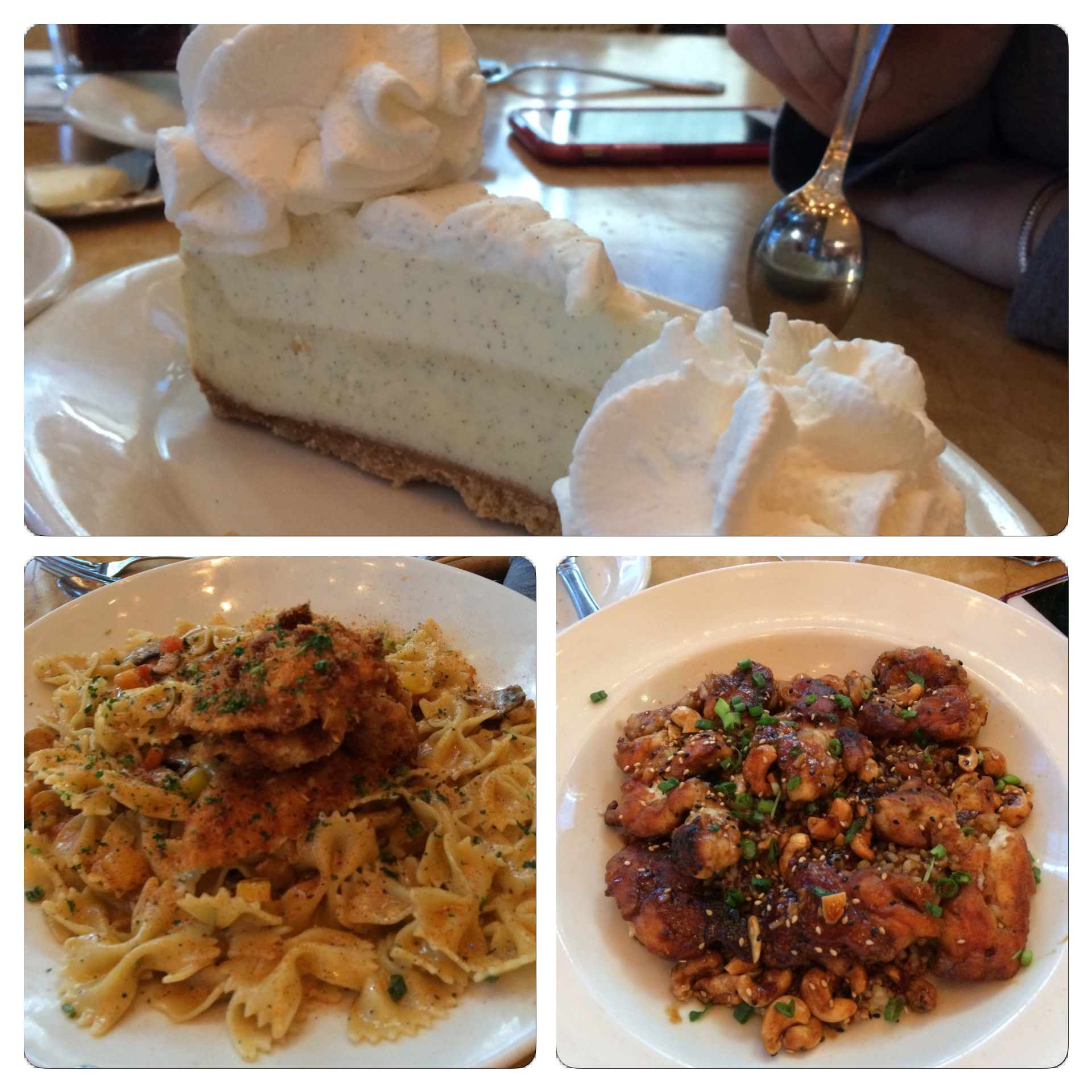 A look at the food we ordered yesterday at the Charlotte Cheesecake Factory. So good.