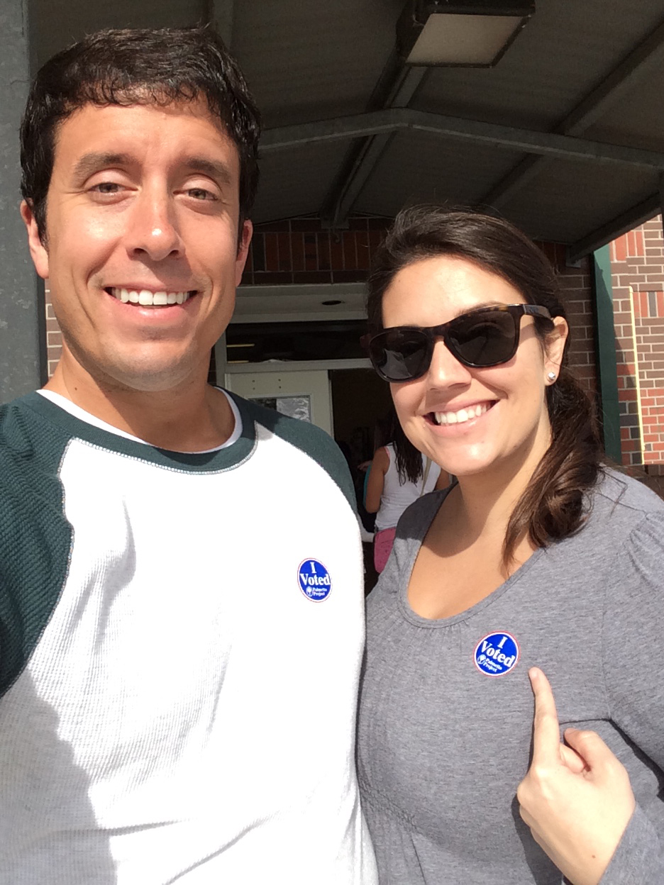 Wearing the stickers to prove it, Sidney and I posed for this selfie outside of Ocean Bay Elementary after casting our ballots.