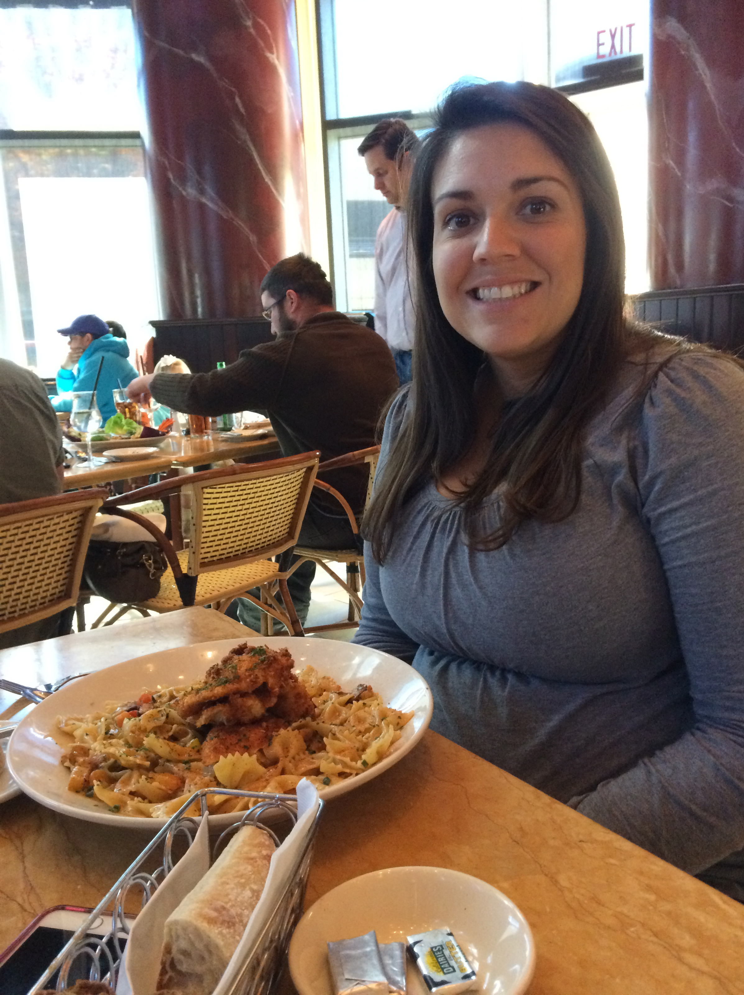 Sidney helped me discover my love of the Cheesecake Factory. This photo is of Sid at the Charlotte Cheesecake Factory yesterday. She is with her favorite Cheesecake Factory dish, the Louisiana pasta.