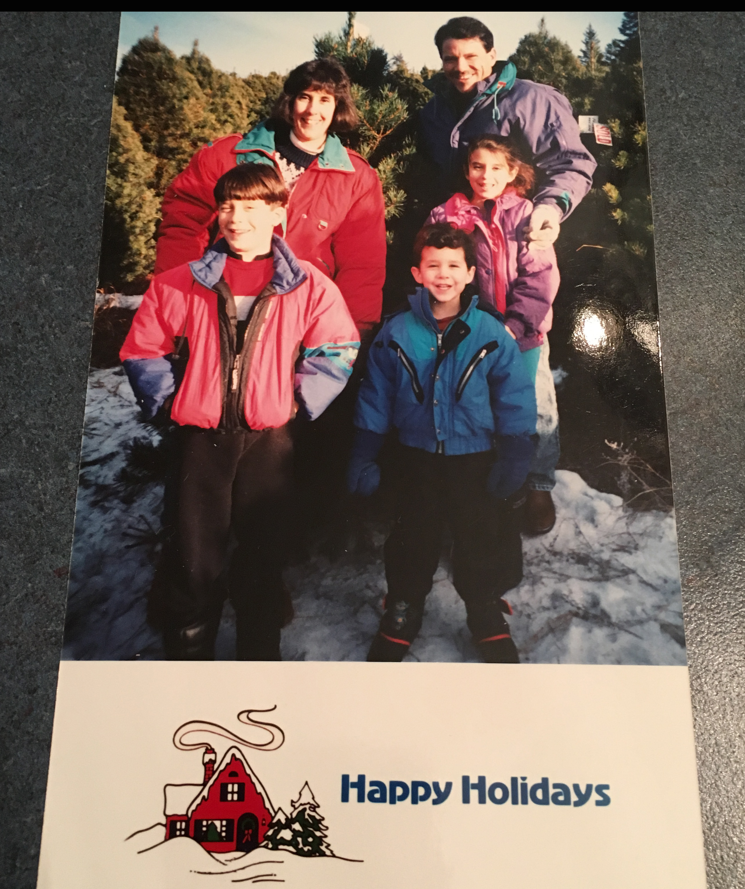 This is my all-time favorite Christmas card my family sent out. This was us at the Christmas tree farm in 1995.