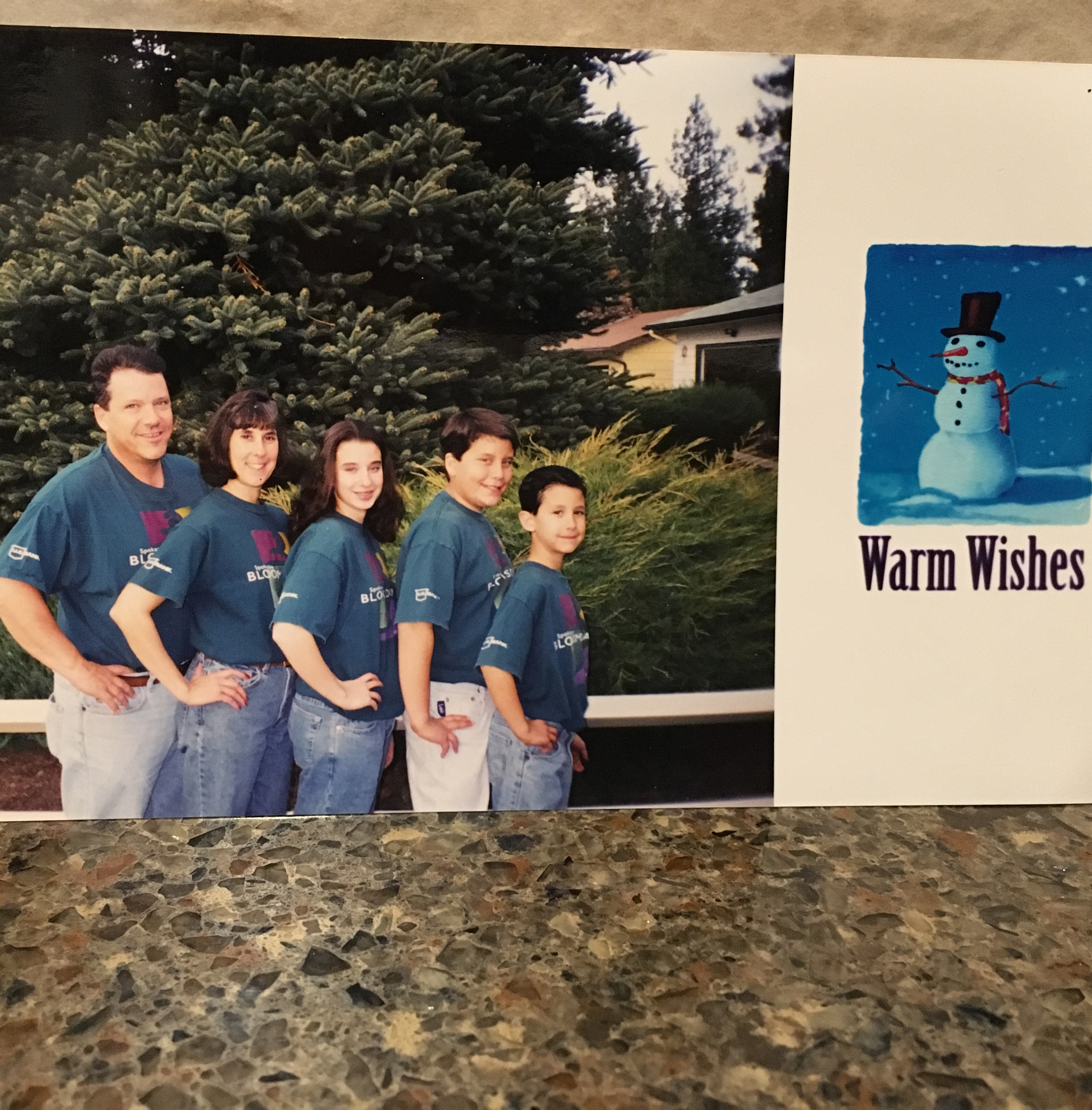 This is my mom's all-time favorite Christmas card. We were all wearing our Bloomsday shirts. Bloomsday is a popular road race in Spokane. This is from 1998.