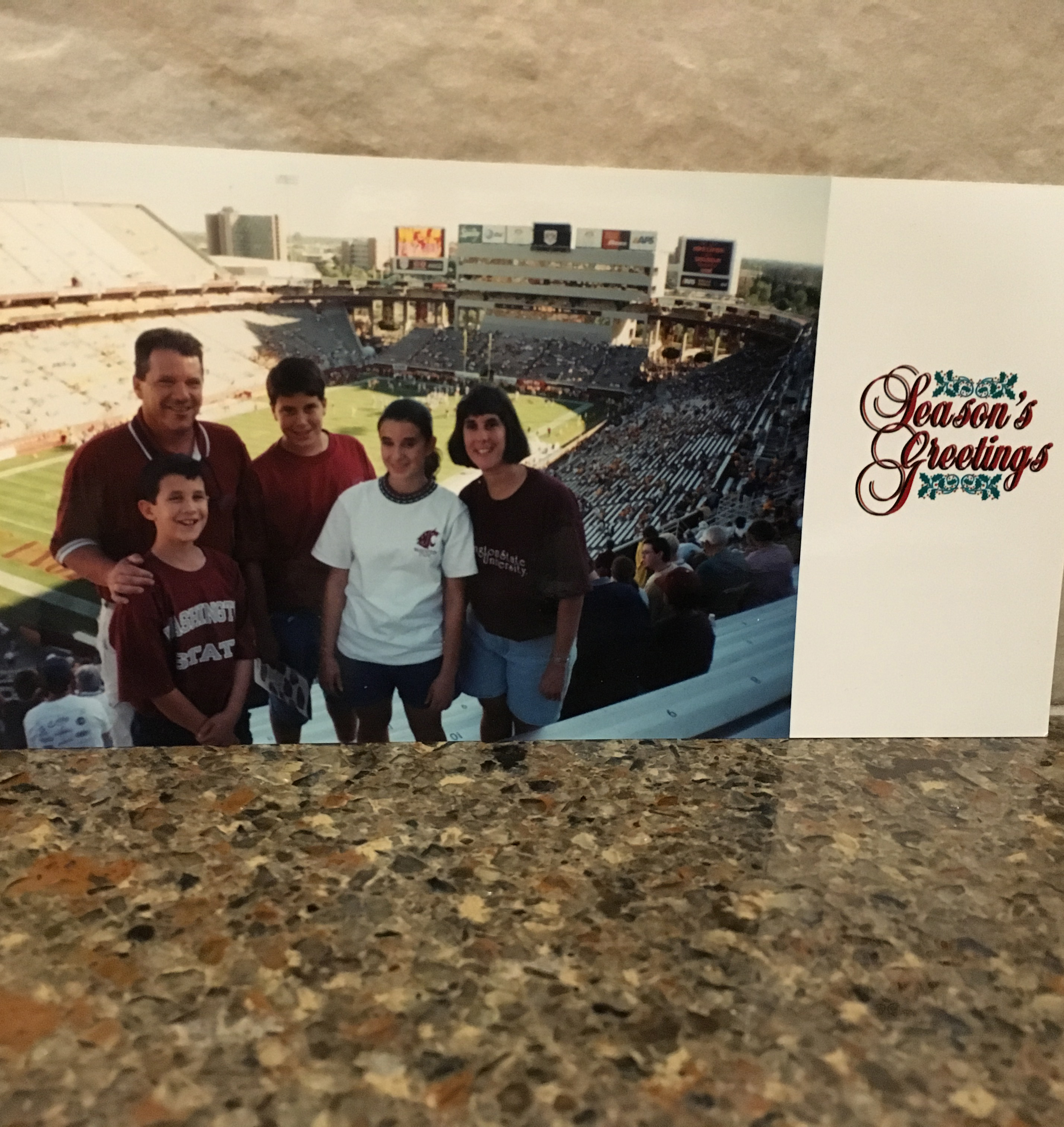 This Christmas card photo was taken when we visited Arizona one October in 1999 to watch the Washington State Cougars play the Arizona State Sun Devils.