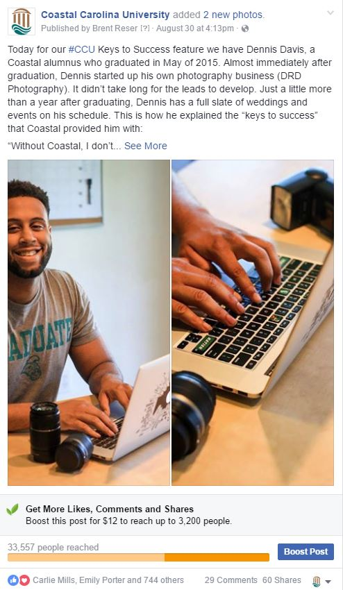 A screenshot of an actual post used in the #CCU Keys to Success campaign. Thank you to Mr. Dennis Davis for allowing me to use his feature in this post.