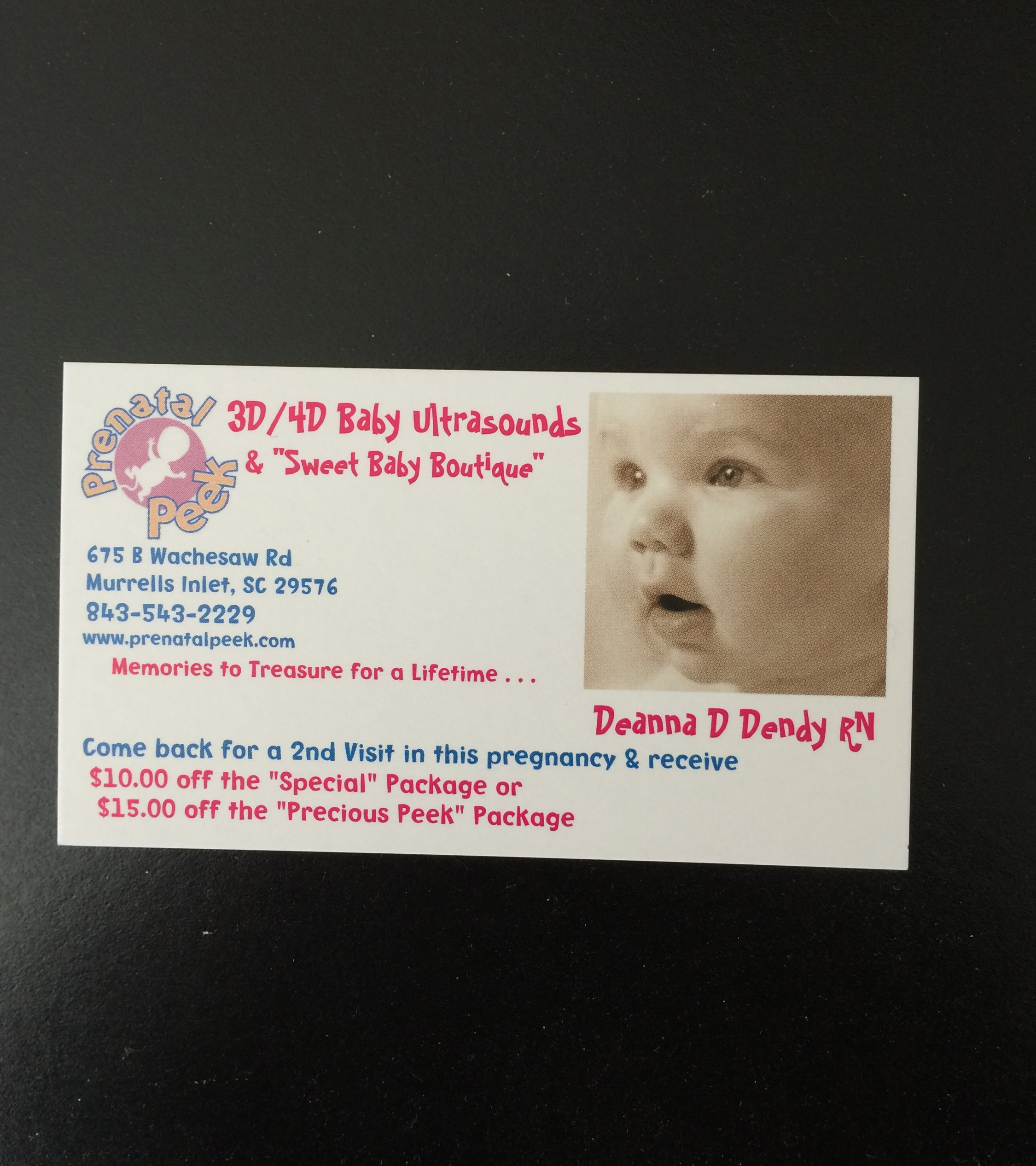 This is the business card of Prenatal Peek, the place we went to yesterday for a high quality ultrasound.