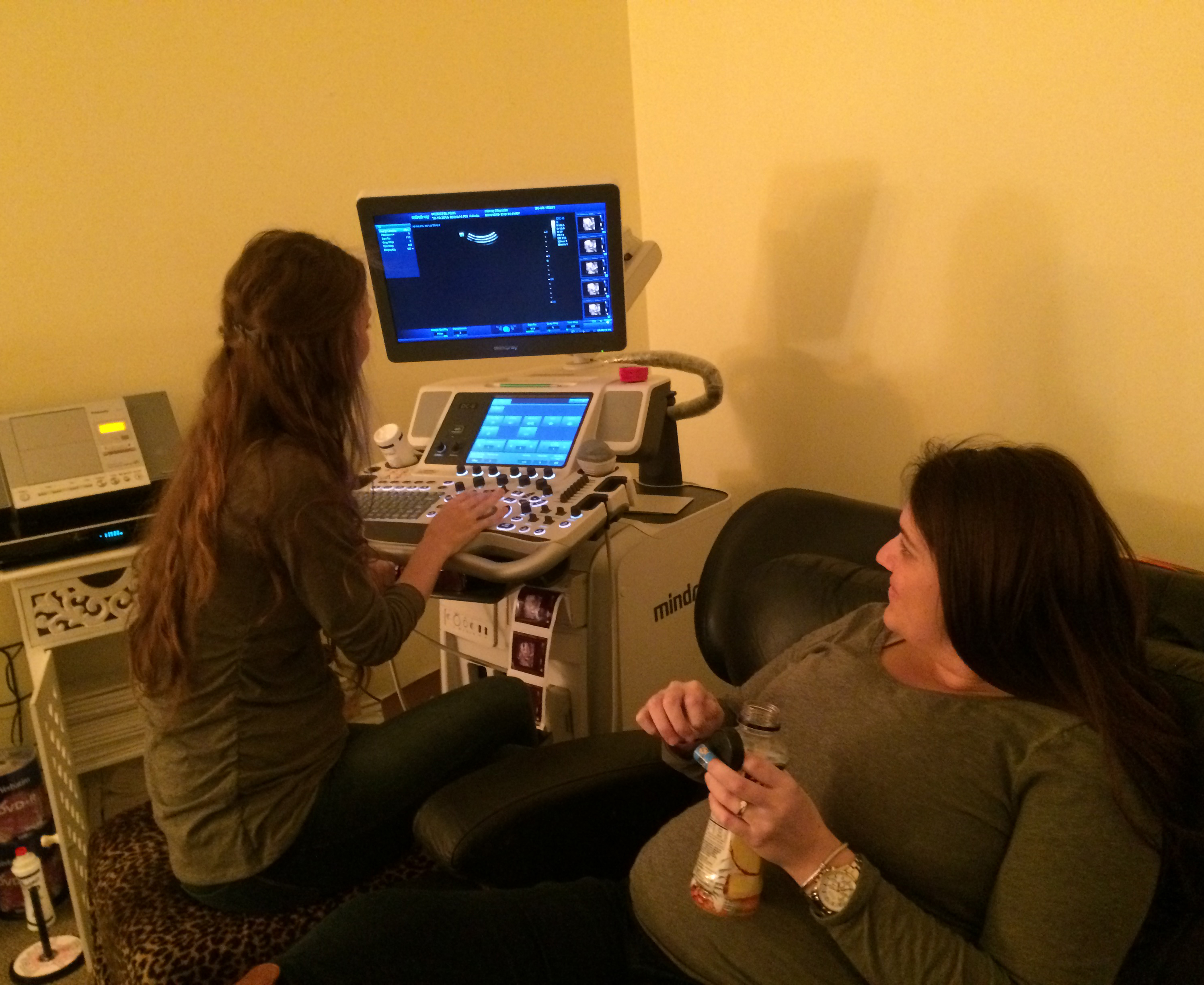 This is Sidney talking with our Prenatal Peek ultrasound tech at the end of our session yesterday.