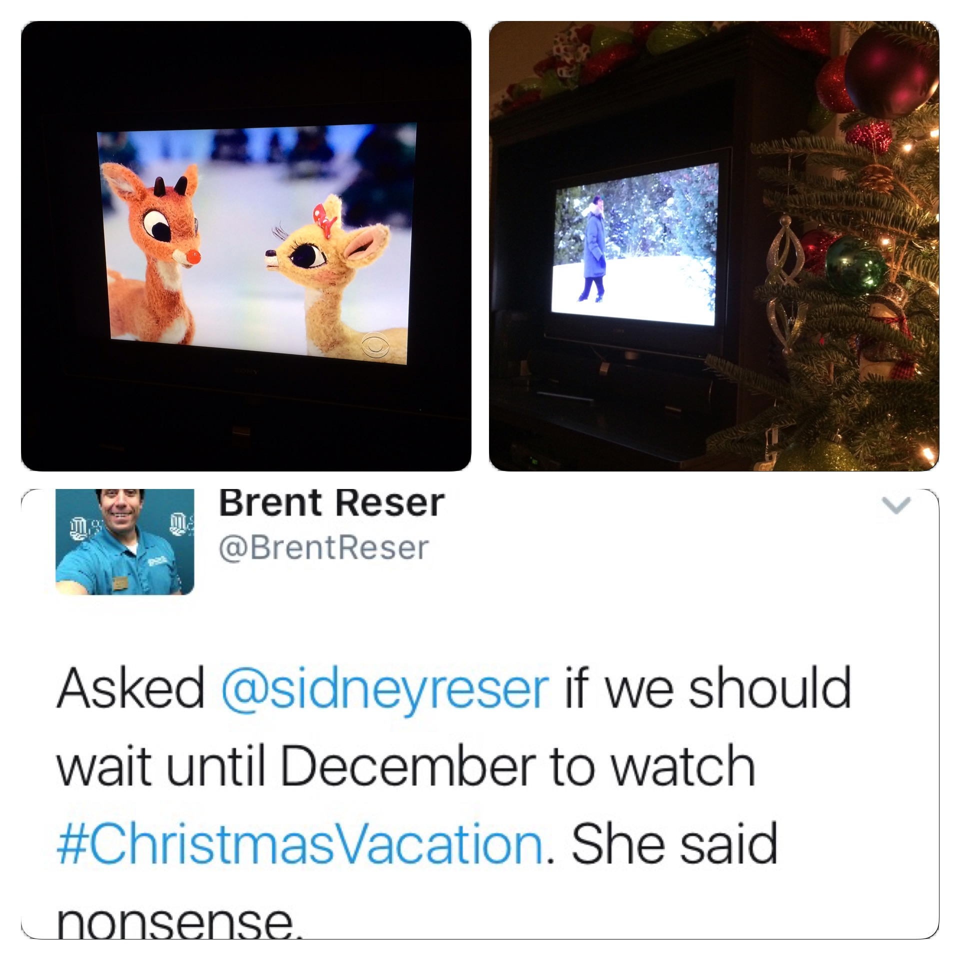 "A look at the movies we watched over the past two nights along with the tweet I sent out about Sid's willingness to watch ""Christmas Vacation"" in November."