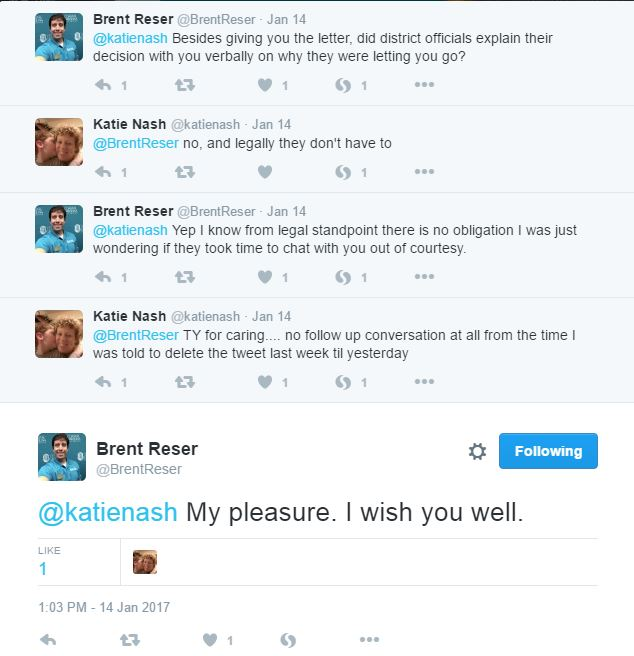 I had a Twitter conversation with Katie Nash, the social media professional who was fired from her position at a school district.