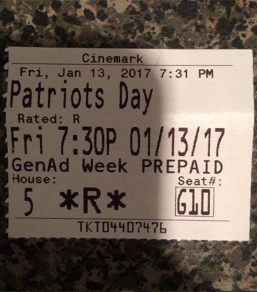 "I recommend the movie ""Patriots Day."""