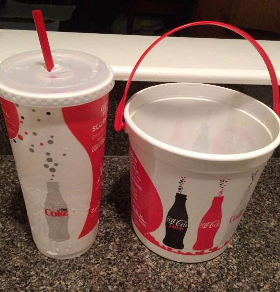 Spoiler alert...I ended up buying the soda cup and the popcorn tub. This is what they look like.