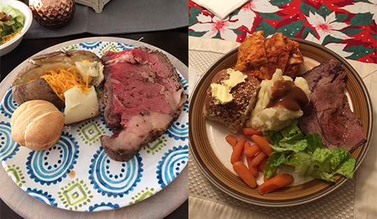 The prime rib on the left is from Sidney's family celebration and the prime rib on the right is from my family's celebrationn